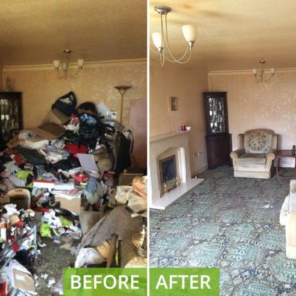 Hoarder Clean and Clear living room